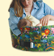 A mother nursing her baby with My Baby's Nest nursing pillow